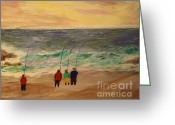 Dawn Drawings Greeting Cards - Surfcasters at Sunrise Greeting Card by Bill Hubbard