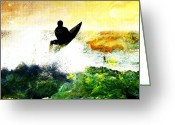 Wind Surfing Art Greeting Cards - Surfer Greeting Card by Andrea Barbieri