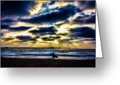 Surf Silhouette Digital Art Greeting Cards - Surfer At Pacific Beach Greeting Card by Chris Lord