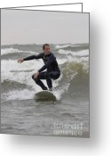 Surf Silhouette Greeting Cards - Surfer balancing on wave in Lake Michigan Greeting Card by Purcell Pictures