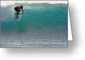 Surf Lifestyle Greeting Cards - Surfer dropping in the blue waves at Dumps Maui Hawaii Greeting Card by Pierre Leclerc