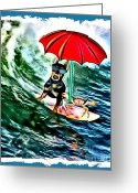 Doberman Greeting Cards - Surfer Dude with Shades Greeting Card by Tisha McGee