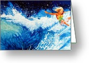 Sports Artist Greeting Cards - Surfer Girl Greeting Card by Hanne Lore Koehler
