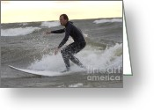 Surf Silhouette Greeting Cards - Surfer on Lake Michigan riding a wave Greeting Card by Purcell Pictures