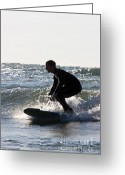 Surf Silhouette Greeting Cards - Surfer riding wave on Lake Michigan Greeting Card by Purcell Pictures