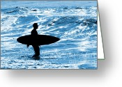 Surf Silhouette Greeting Cards - Surfer Silhouette Greeting Card by Carlos Caetano