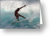 Surf Lifestyle Greeting Cards - Surfer slashing the blue waves at Dumps Maui Hawaii Greeting Card by Pierre Leclerc