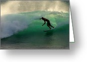 Surf Lifestyle Greeting Cards - Surfer Surfing blue waves at Dumps Maui Hawaii Greeting Card by Pierre Leclerc