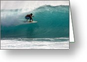 Surf Lifestyle Greeting Cards - Surfer Surfing in the tube of blue waves at Dumps Maui Hawaii Greeting Card by Pierre Leclerc
