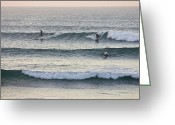 Surf Lifestyle Greeting Cards - Surfers Crowd The Lineup As Waves Peel Greeting Card by Jason Edwards