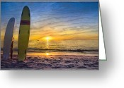 Sports Greeting Cards Greeting Cards - Surfers Dreams Greeting Card by Debra and Dave Vanderlaan