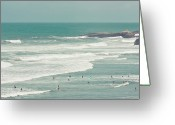 Leisure Activity Greeting Cards - Surfers Lying In Ocean Greeting Card by Cindy Prins