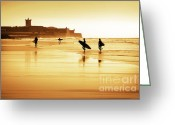 Back-light Greeting Cards - Surfers silhouettes Greeting Card by Carlos Caetano