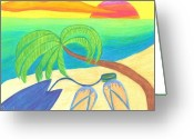 Waves Greeting Cards - Surfers Sunset Greeting Card by Geree McDermott