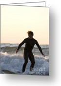 Surf Silhouette Greeting Cards - Surfing a freshwater wave in Lake Michigan Greeting Card by Purcell Pictures