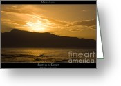 Sunset Posters Greeting Cards - Surfing by Sunset - Maui Hawaii Posters Series Greeting Card by Denis Dore