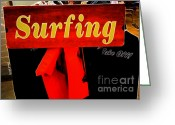 Suits Greeting Cards - Surfing Greeting Card by Cheryl Young