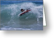 Island Cultural Art Greeting Cards - Surfing Honokohau Maui Hawaii Greeting Card by Sharon Mau