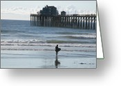 Clemente Greeting Cards - Surfing in San Clemente Greeting Card by John Rushing