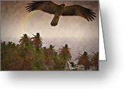Bird Of Prey Mixed Media Greeting Cards - Surfing the Island Breeze Greeting Card by Douglas Barnard