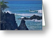 Island Photos Greeting Cards - Surfing the Rugged Coastline Greeting Card by Bette Phelan