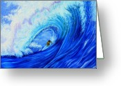 Waves Painting Greeting Cards - Surfing the Wild Wave Greeting Card by Kathern Welsh