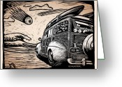 Hot Rod Drawings Greeting Cards - Surfs Up Greeting Card by Bomonster