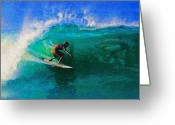 Molokai Greeting Cards - Surfs Up Greeting Card by James Temple