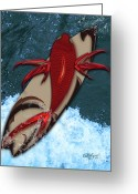 Linda D Seacord Greeting Cards - Surfs Up Greeting Card by Linda Seacord
