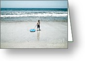 Boogie Board Greeting Cards - Surfs Up When I Get There Greeting Card by Vance Fox