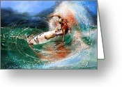 Wind Surfing Art Painting Greeting Cards - Surfscape 03 Greeting Card by Miki De Goodaboom