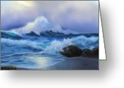 Evening Scenes Digital Art Greeting Cards - Surging Tide Greeting Card by Sena Wilson