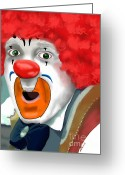 2hivelys Art Greeting Cards - Surprised Clown Greeting Card by Methune Hively