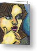Oil Pastel Greeting Cards - Surprised Girl Greeting Card by Kamil Swiatek