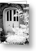Fantasy Surreal Spooky Photography Greeting Cards - Surreal Black White Infrared Spooky Haunting Door Greeting Card by Kathy Fornal