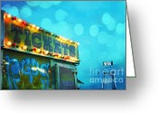 Aqua Art Greeting Cards - Surreal Carnival Art Tickets Booth and Slide Greeting Card by Kathy Fornal