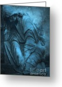 Mourner Greeting Cards - Surreal Cemetery Grave Mourner In Blue Sorrow  Greeting Card by Kathy Fornal