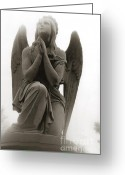 Coffin Greeting Cards - Surreal Dreamy Angel Praying Looking Up In Sky Greeting Card by Kathy Fornal