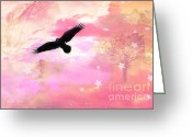 Surreal Fantasy Nature Scene With Ravens Greeting Cards - Surreal Dreamy Fantasy Ravens Pink Sky Scene Greeting Card by Kathy Fornal