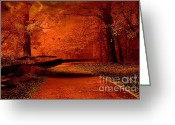 Autumn Photographs Greeting Cards - Surreal Fantasy Autumn Fall Woods Nature  Greeting Card by Kathy Fornal