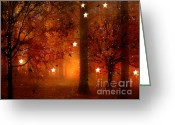 Red Photographs Greeting Cards - Surreal Fantasy Autumn Woodlands Starry Night Greeting Card by Kathy Fornal