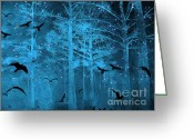 Ravens And Crows Photography Greeting Cards - Surreal Fantasy Blue Woodlands Ravens and Stars Greeting Card by Kathy Fornal