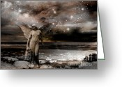 Surreal Gothic Angel Photography Greeting Cards - Surreal Fantasy Celestial Angel With Stars Greeting Card by Kathy Fornal