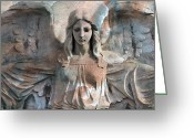 Surreal Gothic Angel Photography Greeting Cards - Surreal Fantasy Dreamy Angel Art Wings Greeting Card by Kathy Fornal