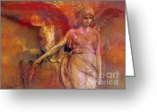 Angel Statue Greeting Cards - Surreal Fantasy Dreamy Impressionistic Angel Art  Greeting Card by Kathy Fornal