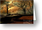 Autumn Photographs Greeting Cards - Surreal Fantasy Haunting Autumn Trees Ravens Greeting Card by Kathy Fornal