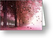 Inspirational Prints Photo Greeting Cards - Surreal Fantasy Nature Forest Woods With Birds Greeting Card by Kathy Fornal