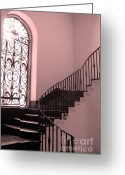 Staircase Greeting Cards - Surreal Fantasy Pink Architectural Staircase Greeting Card by Kathy Fornal
