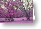 Pink And Purple Greeting Cards - Surreal Fantasy Pink Fall Landscape With Swing Greeting Card by Kathy Fornal