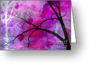Tree Limbs Greeting Cards - Surreal Fantasy Pink Purple Tree With Balloons Greeting Card by Kathy Fornal